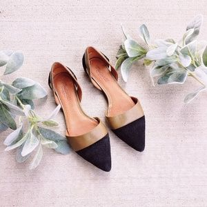 Madewell Black Suede and Olive Green D'orsay Flats